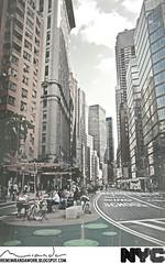 Broadway at Columbus Circle (Irene Miranda) Tags: new york city nyc columbus textura clouds buildings reflections circle mirror edificios carretera broadway cielo nubes espejo irene miranda terraza 2011