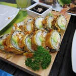 "Shrimp Tempura Sushi at La Mar <a style=""margin-left:10px; font-size:0.8em;"" href=""http://www.flickr.com/photos/14315427@N00/6121108715/"" target=""_blank"">@flickr</a>"