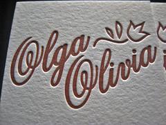 Olga Olivia Letterpress Card