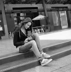 Capture (shelbtron) Tags: sanfrancisco blackandwhite tlr film girl canon mediumformat pretty 120film hasselblad ilforddelta400 twinlensreflex 80mm 500cm carlzeiss yashicaa planar80mmf28 mintplaza yashhica canoscan9000f bwfp