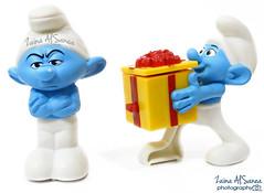SMURFS (Zaina Al-Sanea) Tags: blue photography gift angry present smurf smurfs zaina alsane alsanea