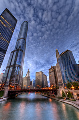 Down by the River (Christopher.F Photography) Tags: blue sky urban chicago reflection building tower skyline clouds skyscraper river high nikon downtown cityscape dynamic hour wrigley trump range hdr hdri supertall d3000