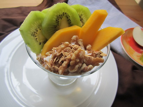 Yogurt with fruit, granola, nuts