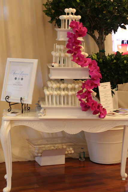 Full View of the Cake Pop Wedding Stand with Orchids