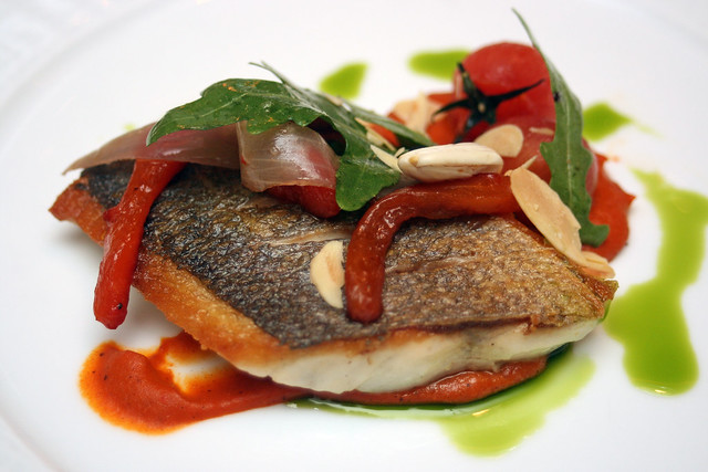 Daurade a la Plancha - Seabream with Romesco Sauce and Arugula