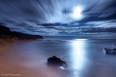 Night on the beach (-yury-) Tags: ocean longexposure light sea sky moon seascape motion reflection beach nature night clouds landscape sydney australia moonrise nsw turimetta
