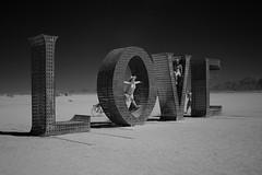 L O V E (JoshuaColeman) Tags: city sky white man black art 20d love rock by canon dark eos desert o nevada playa nv burning v e infrared l converted gerlach 2011 lifepixel