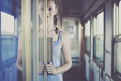 Sliding doors (mickiky) Tags: door windows portrait woman reflection train donna rail barbara porta ritratto treno intercity riflesso ferrovia binari vagone finestrini artlibre artlibres