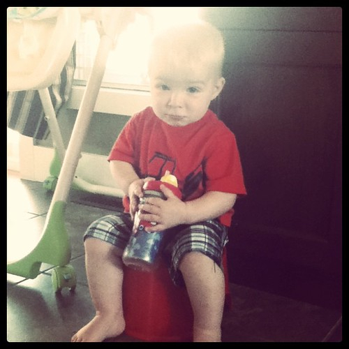Practicing sitting on his potty! <3