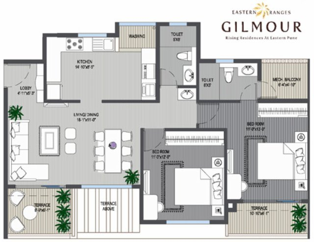 Eastern Ranges Keshav Nagar Gilmour 2 BHK Flat Odd floor 804 sq.ft. Carpet + 96 sq.ft. Terrace