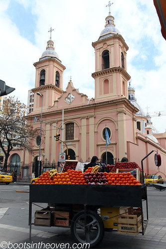 Church and fruit-seller