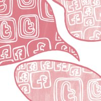 red and pink speech bubbles filled with Facebook and Twitter icons
