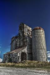 Tuscola Silo (Thad Ligon) Tags: grass clouds illinois nikon country elevator grain bin il silo explore hdr gravel tuscola d7000 thadligon