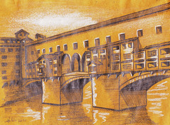Reflections on the Old Bridge (Wasfi Akab) Tags: street old city bridge original houses light shadow sky blackandwhite bw italy cloud brown white house black color art water beautiful beauty yellow shop modern illustration clouds pencil river painting paper landscape geotagged gold golden sketch florence store italian europe paint strada artist italia day arch artistic outdoor drawing iraq arches ponte east charcoal tuscany painter shops firenze draw arno exile middle toscana stores iraqi artista vecchio tuscan ocher middleast akab wasfi