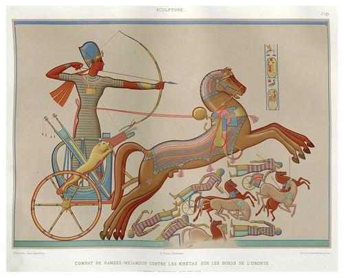 004-Combate de Ramses contra los Khetas a orillas del Oronte- Tebas dinastia XIX-Histoire de l'art égyptien 1878- Achille Constant Théodore Émile