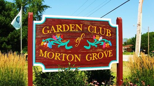 The roadside Garden Club of Morton Grove wooden sign.  Morton Grove Illinois USA. August 2011. by Eddie from Chicago