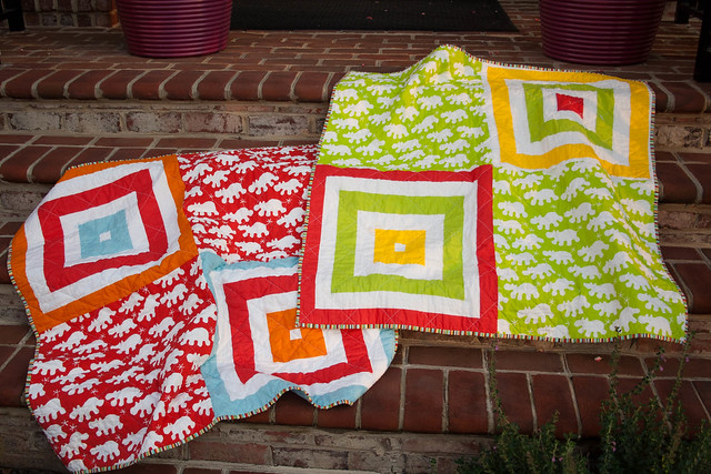 Twin Ikea quilts, chilling on the porch