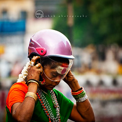 Saftey First, God Next (ayashok photography) Tags: woman india nikon madras helmet streetphotography streetportrait dude tricolor independenceday chennai tamilnadu intersting saftey parryscorner parrys nikkor70300mm ayashok nikond300 aya0817places
