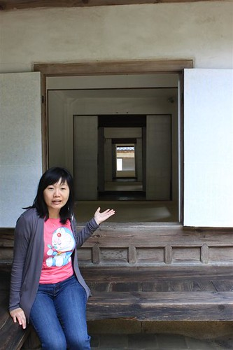 Female and Men communicate from their dorms at Yeongyeong-dang, Secret Garden, Changdeokgung Palace, Seoul South Korea