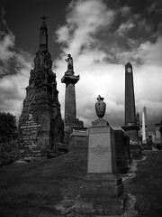 The Privileged Dead (Sven Loach) Tags: uk bw cemetery graveyard urn canon scotland memorial cross britain glasgow victorian graves east elite obelisk billy tombstones tombs necropolis eastend g12 barons connolly burials glaswegians industrialists