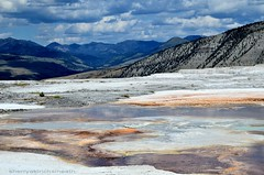 Mammoth Hot Springs, Yellowstone National Park (sanskritlady) Tags: park mountains landscape national yellowstone ark parl mountainscape mammothhotsprings