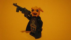 Space Gangster (The Brick Guy) Tags: orange photo lego alien prototype scifi setup custom minifigure tommygun brickarms spacegangster