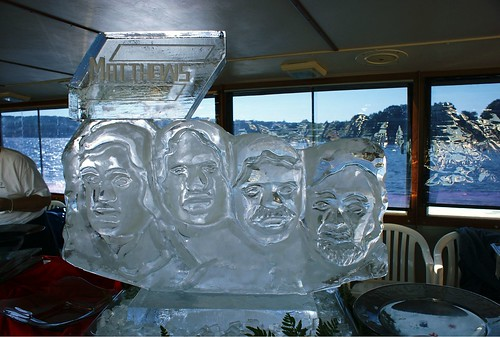 Mt. Rushmore on ice sculpture