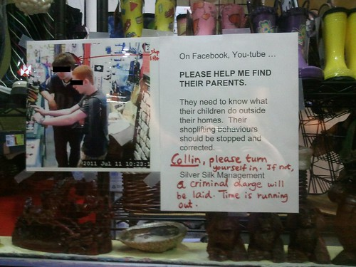 On Facebook, YouTube...PLEASE HELP ME FIND THEIR PARENTS. They need to know what their children do outside their homes. Their shoplifting behaviors should be stopped and corrected. Collin, please turn yourself in. If not, a criminal charge will be made.