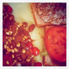 Eggplant burgers plus beans & corn