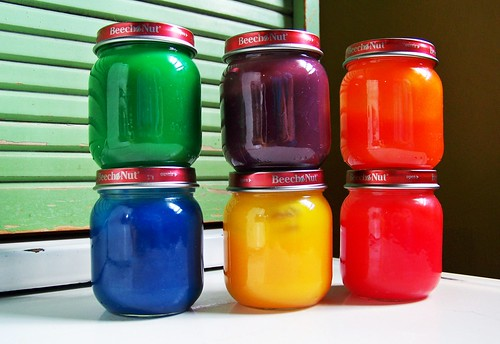 A thing of beauty: Freshly made fingerpaint in little baby food jars