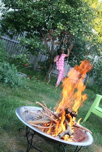 roaring fire, apple tree climbing