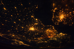 Europe at Night (NASA, International Space Station, 08/10/11) [Explored] (NASA's Marshall Space Flight Center) Tags: brussels italy paris france milan london netherlands amsterdam europe belgium unitedkingdom nasa englishchannel internationalspacestation stationscience crewearthobservation stationresearch