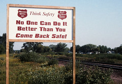 Pride & Safety (view2share) Tags: summer sign mi michigan wells safety wc signage 1998 wisconsincentral escanaba summer1998 ssam saultstemariebridgeco