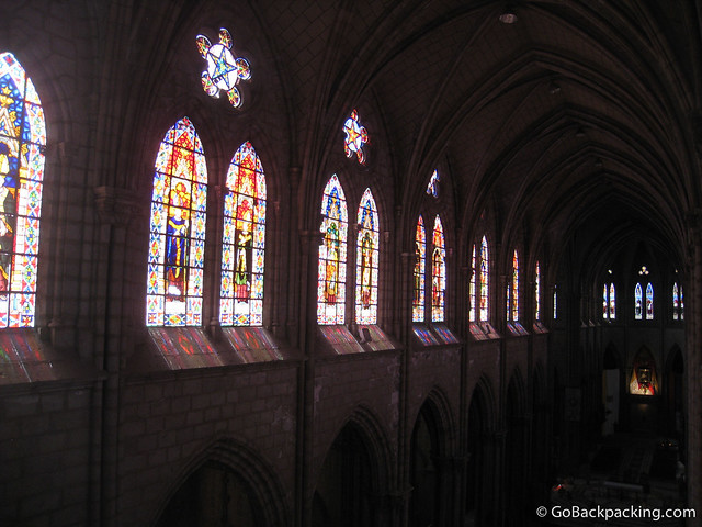 Stained glass inside Basilica del Voto Nacional