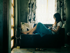 c05726-000007 ( Sean Marc Lee ) Tags: camera blue light 120 mamiya film window girl mediumformat hostel cool 645 waiting mood kodak carina 400  portra