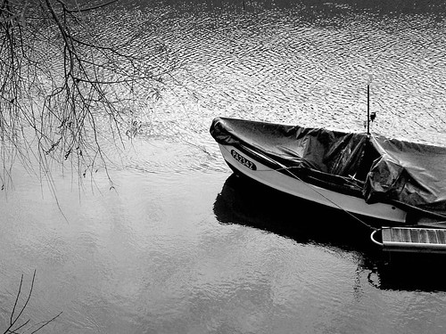 L'hiver sur la Seine, black and white by Julie70