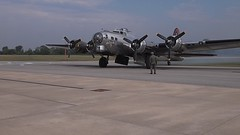 B-17 starts it engines in Kendallville, Indiana (David Cornwell) Tags: usa pen geotagged evil indiana olympus in kendallville noblecounty davidcornwell fwfg kendallvilleairport davidcornwellphotographer olympuspenepl2 electronicviewfinderinterchangeablelens autovationfair firstannualaviatinautovationfair
