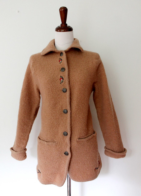Honey Brown Embroidered Wool Sweater Coat, vintage 80s