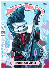 Undead Jed (Tim Maclean) Tags: pink blue illustration painting skull sticker acrylic pattern flames tradingcard creepy screenprinting horror rockabilly undead checkered garbagepailkids doublebass popsurrealism gpk