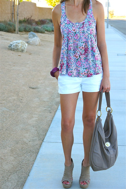 White and floral outfit