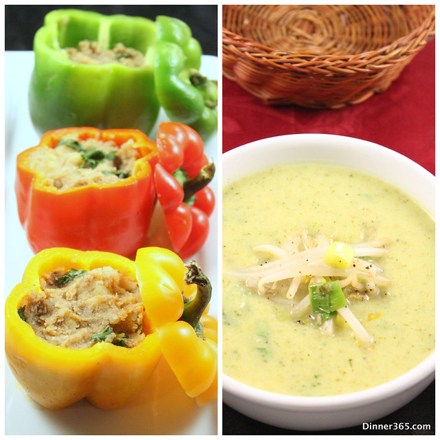 Day 250 - Stuffed Bell Peppers and Broccoli Yogurt Soup
