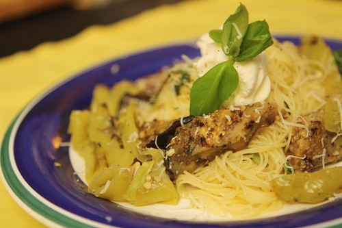 Lemon Basil Capellini with Grilled Eggplant and Biscayne Pepper