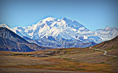 Divine Denali - Alaska - Mountains (blmiers2) Tags: travel blue autumn brown white mountain snow mountains green fall nature yellow alaska clouds landscape nikon divine denali d3100 blm18 blmiers2