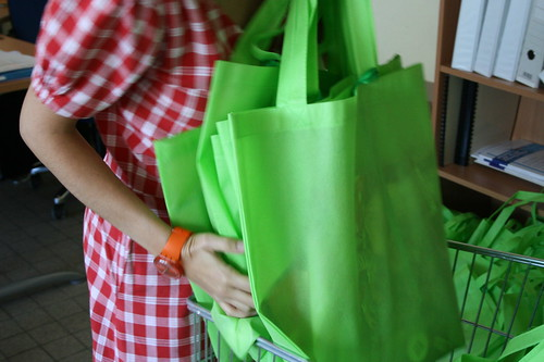 Robe rouge et sac vert