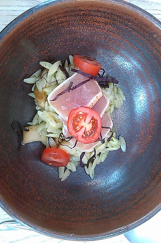 Tuna with shiso rice and mushrooms
