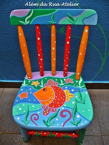 Cadeira para crianças, com motivos marítimos