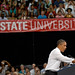 President Barack Obama talks to the audience about his jobs bill Wednesday at Reynolds Coliseum.