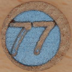 Wooden Bingo Number 77 (Leo Reynolds) Tags: squaredcircle 77 number xsquarex numberbingo bingo lotto loto houseyhousey housey housie housiehousie numberset bingoset16 canon eos 40d 0sec f80 iso100 60mm xleol30x sqset069 hpexif xxx2011xxx xxxtensxxx 70s