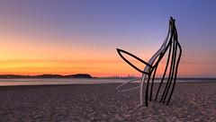 Whale in the Sand (AdamNoosa) Tags: sunset sculpture orange adam beach gold coast haze sand moody footprints queensland whale swell southport gormley currumbin burleigh beachscape adamgormley