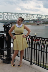 Outfit - vintage Moschino belt, handmade yellow gingham dress, Vivienne Westwood Lady Dragon heard shoes
